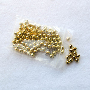 8mm. Gold-Plated Steel Beads