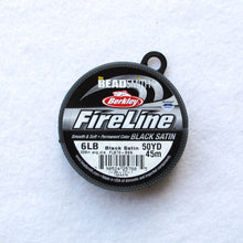 Load image into Gallery viewer, 50 yd. Spool of Black Satin Fireline Thread