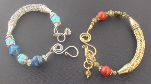 Viking Knit Bangle Bracelet with Beads & Handmade Clasp: Zoom Class, Handout & Recording, Saturday, 1/23/21, 11am-12:30pm.
