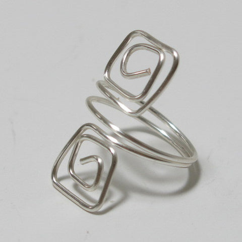 Double Squares Adjustable Wire Ring, Silver-Plated