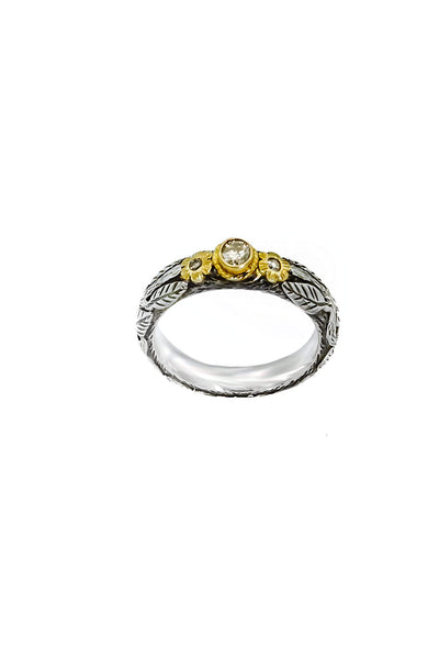 Champagne Diamonds Gold & Silver Ring - Inaya Jewelry