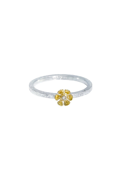 Champagne Diamonds Gold & Silver Flower Ring - Inaya Jewelry