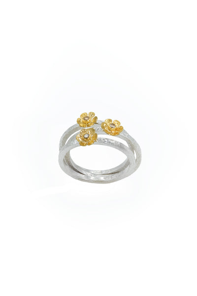 Champagne Diamonds Gold & Silver Stackable Rings - Inaya Jewelry