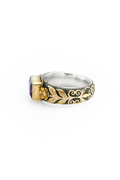 African Amethyst & Diamonds Gold & Silver Ring - Inaya Jewelry