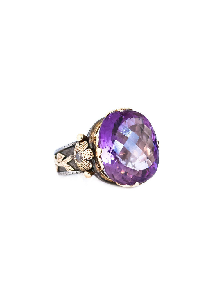 Amethyst And Diamond Rose Gold And Silver Ring