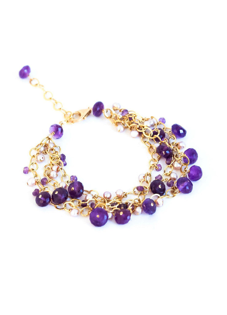 Chainy Amethyst and Pearl Delicate Bracelet