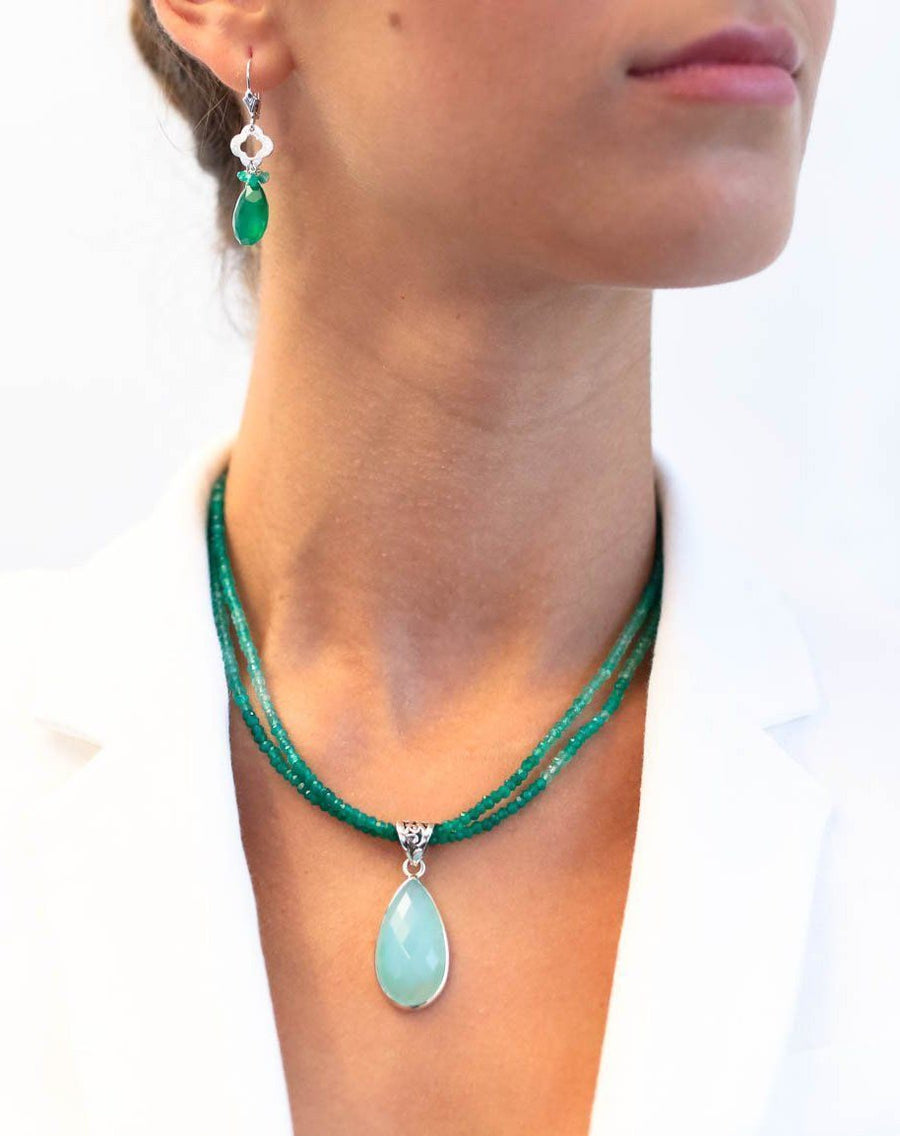 Chalcedony on Green Onyx - Inaya Jewelry
