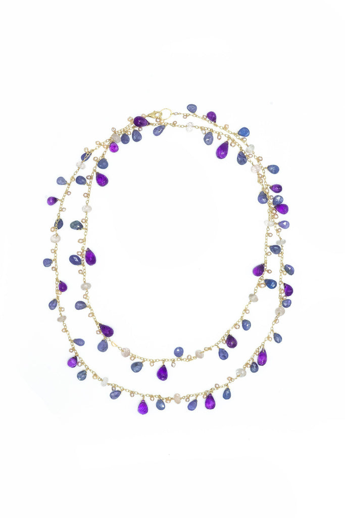 Tanzanite, Amethyst & Rose Quartz Long Chained Necklace
