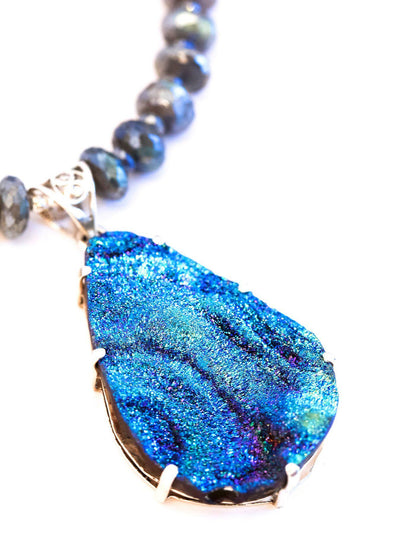 Druzy Flower Necklace on Labradorite Drop - Inaya Jewelry