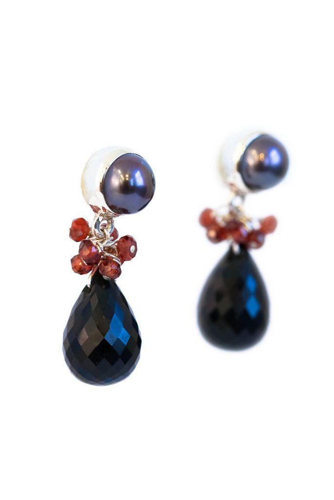 Black Spinel Fantasy and Pearl Earrings
