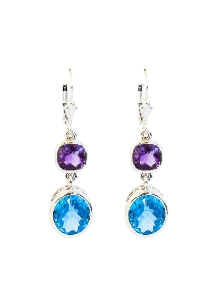 Blue Topaz and Amethyst Double Bezel Earrings