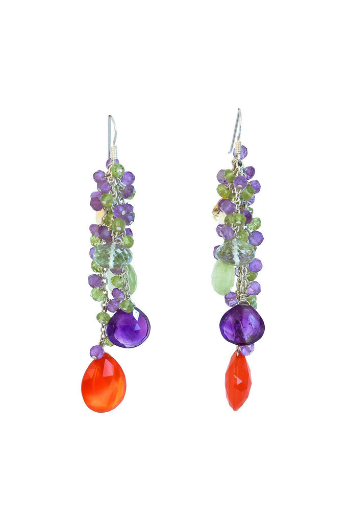 Carnelian Silver Tassel Earrings - Inaya Jewelry