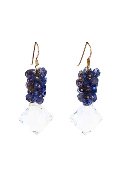 Crystal and Iolite Cluster Earrings - Inaya Jewelry