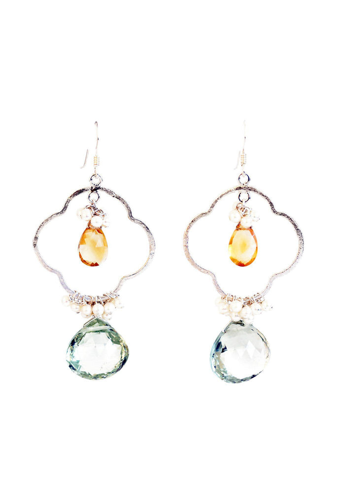 Clover Green Amethyst and Citrine Earrings - Inaya Jewelry