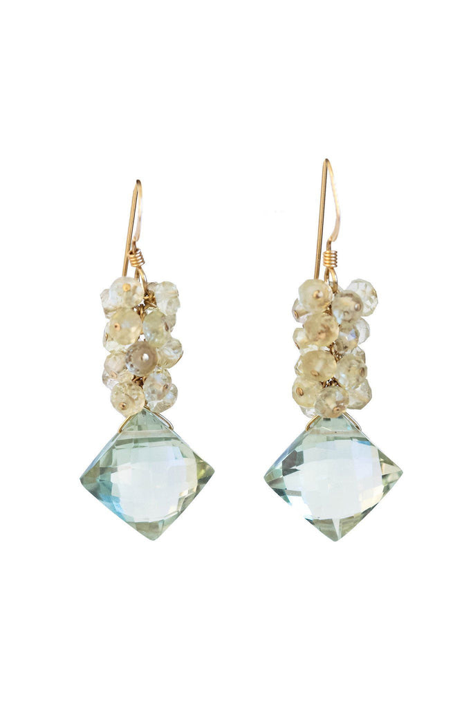 Green Amethyst and Citrine Cluster Earrings