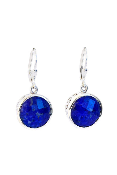 Lapis Bezels Earrings - Inaya Jewelry