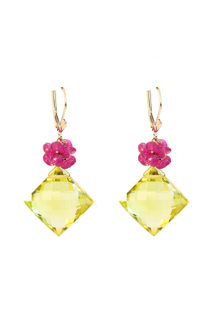 Lemon Topaz and Ruby Earrings in Gold