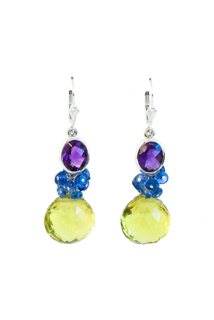 Lemon Topaz and Sapphire Fantasy Drop Earrings