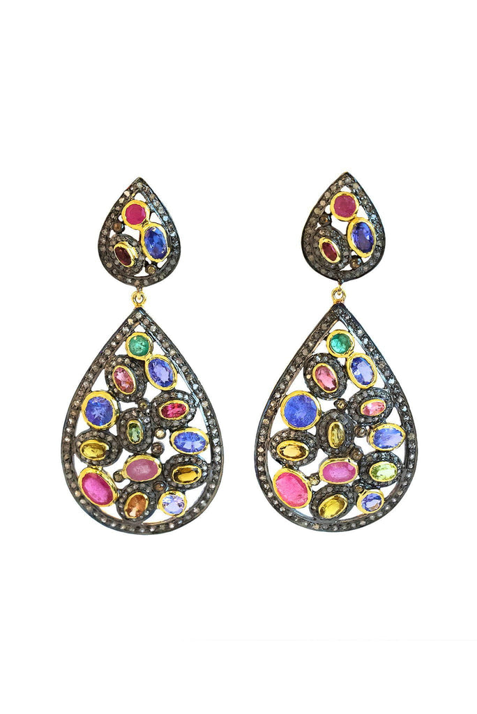Multi Gem Flat Cut Diamond Earrings