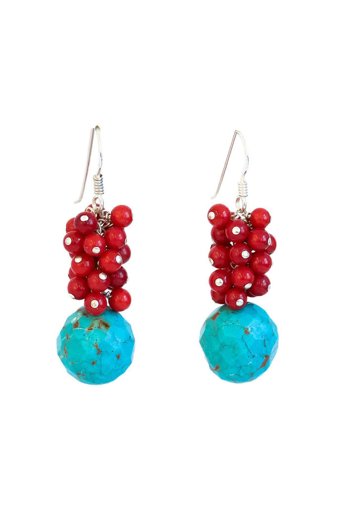 Coral and Turquoise Cluster Earrings