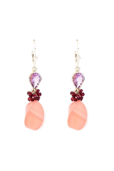 Peach Chalcedony Fantasy Earrings - Inaya Jewelry