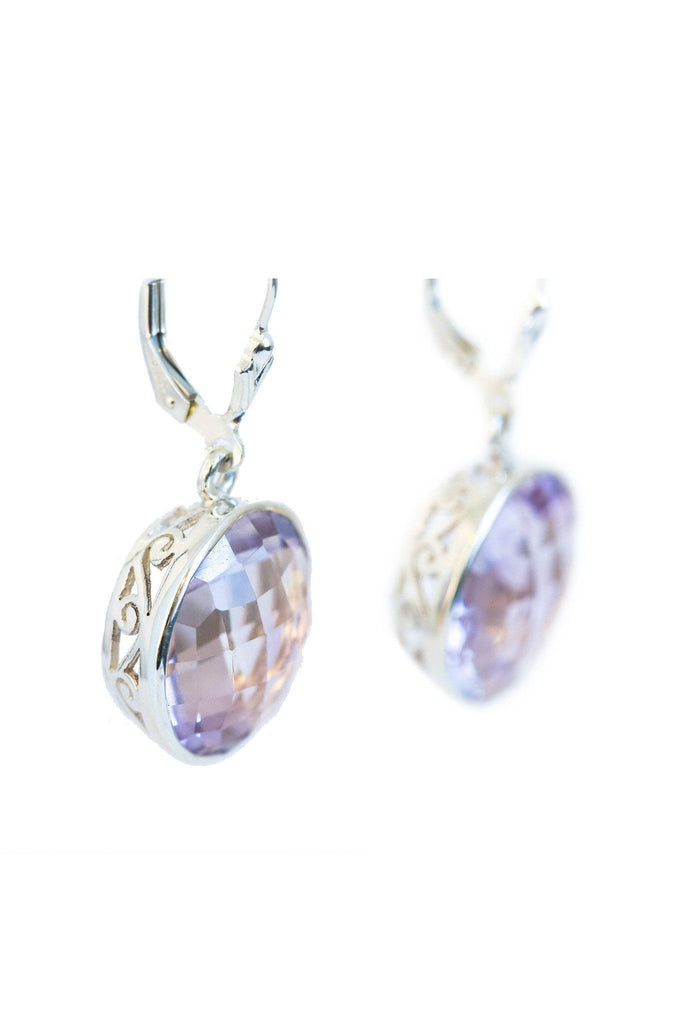 Pink Amethyst Bezel Earrings