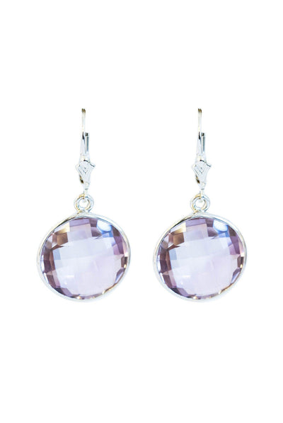 Pink Amethyst Bezel Earrings - Inaya Jewelry