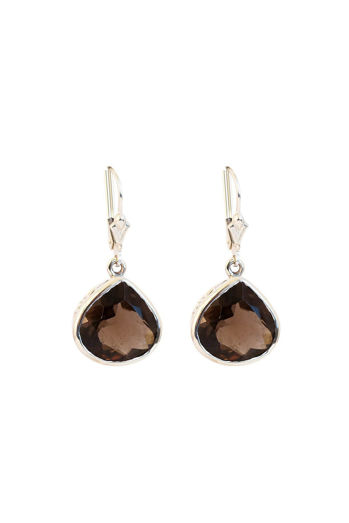 Smoky Topaz Bezels Drop Earrings - Inaya Jewelry
