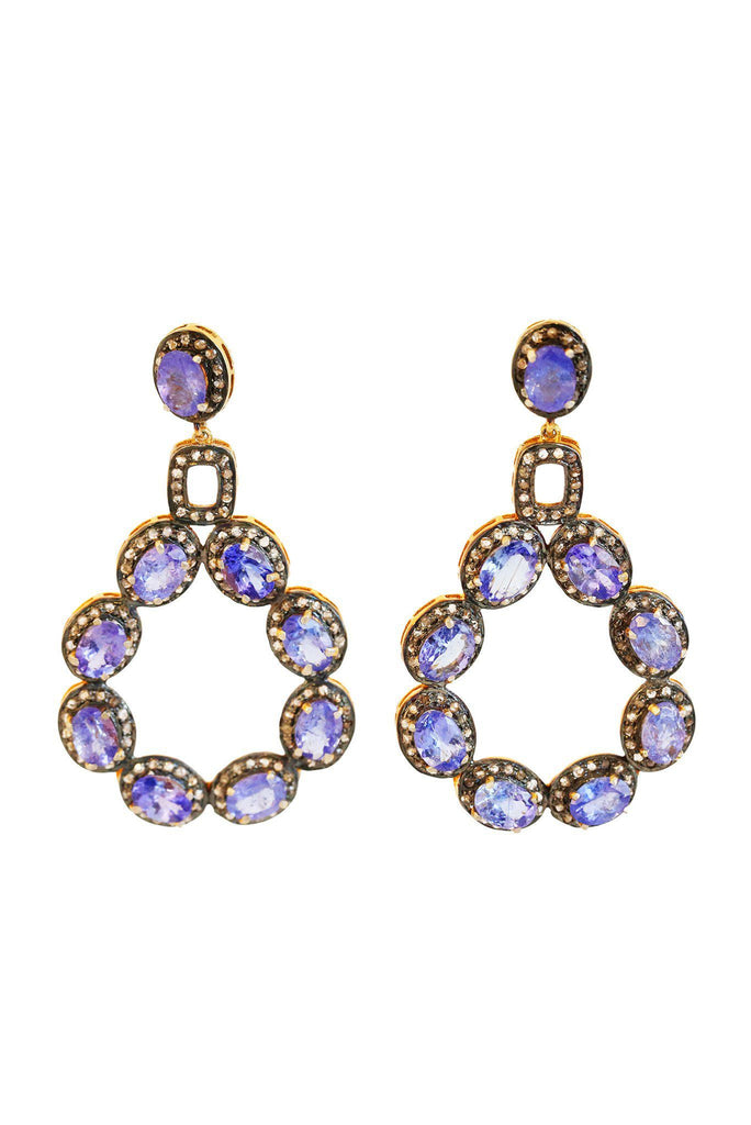 Tanzanite And Black Diamonds Earrings