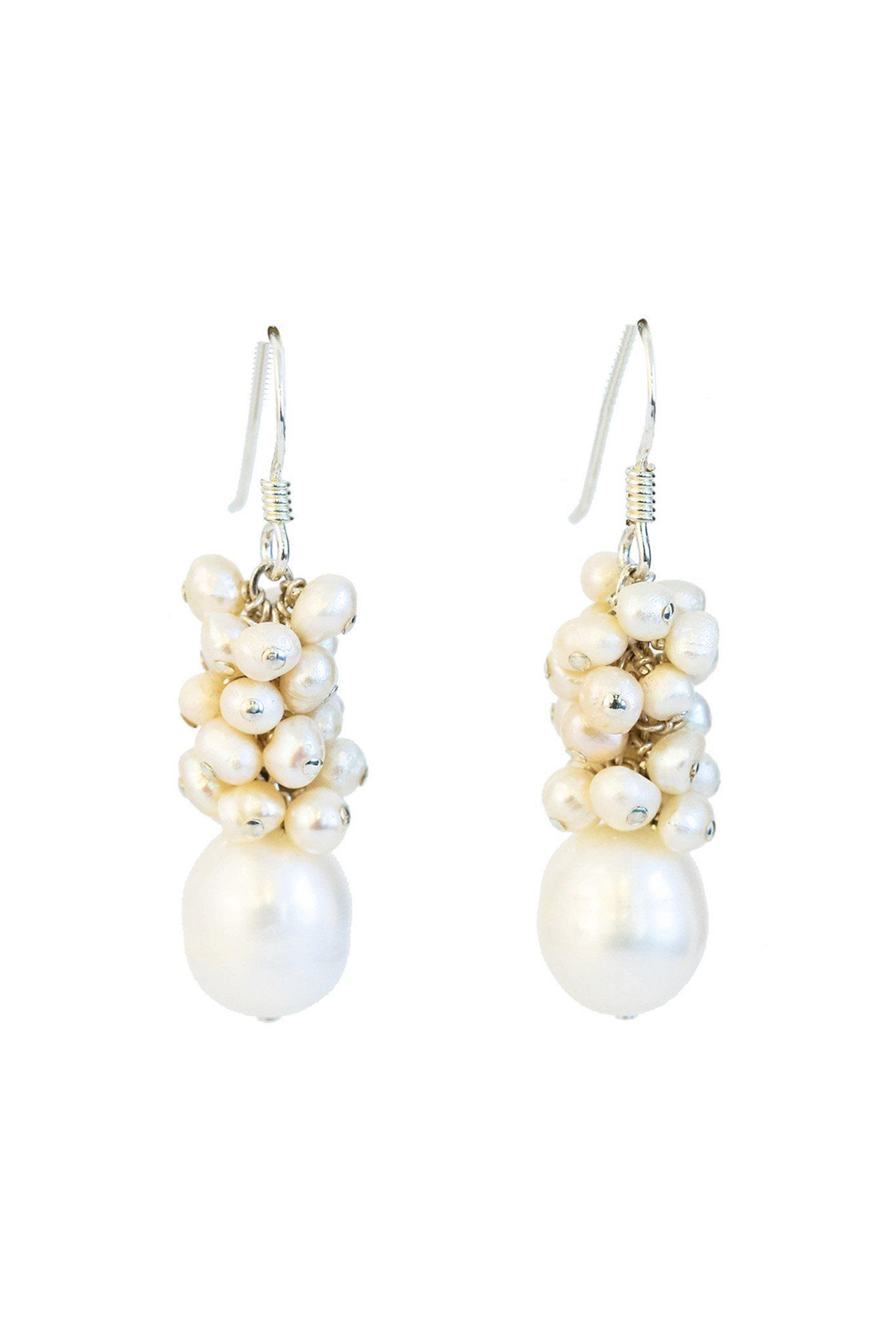 8462af04f Buy White Fresh Water Pearl Cluster Earrings In Sterling Silver ...