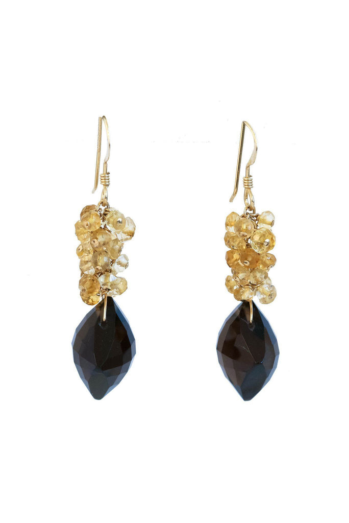 Smoky Topaz and Citrine Cluster Earrings