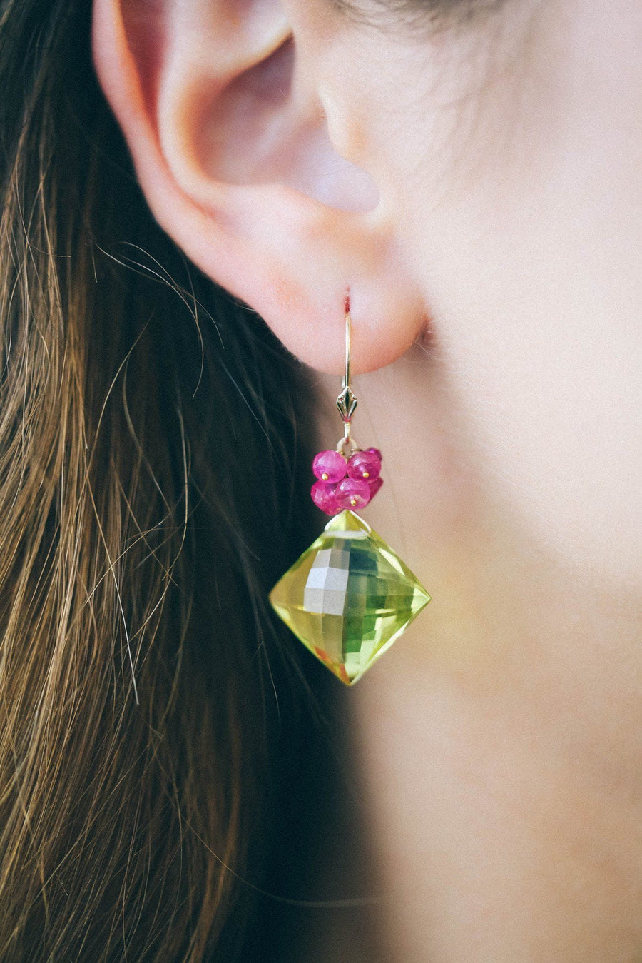Lemon Topaz and Ruby Earrings in Gold - Inaya Jewelry