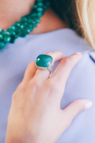 Green Onyx Ring - Inaya Jewelry