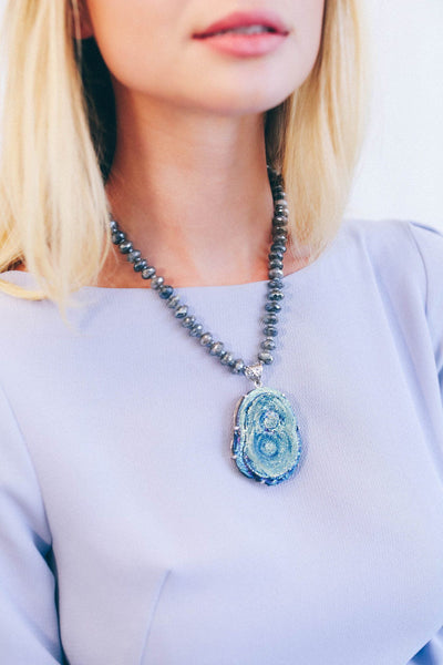 Druzy Flower Necklace on Labradorite - Inaya Jewelry