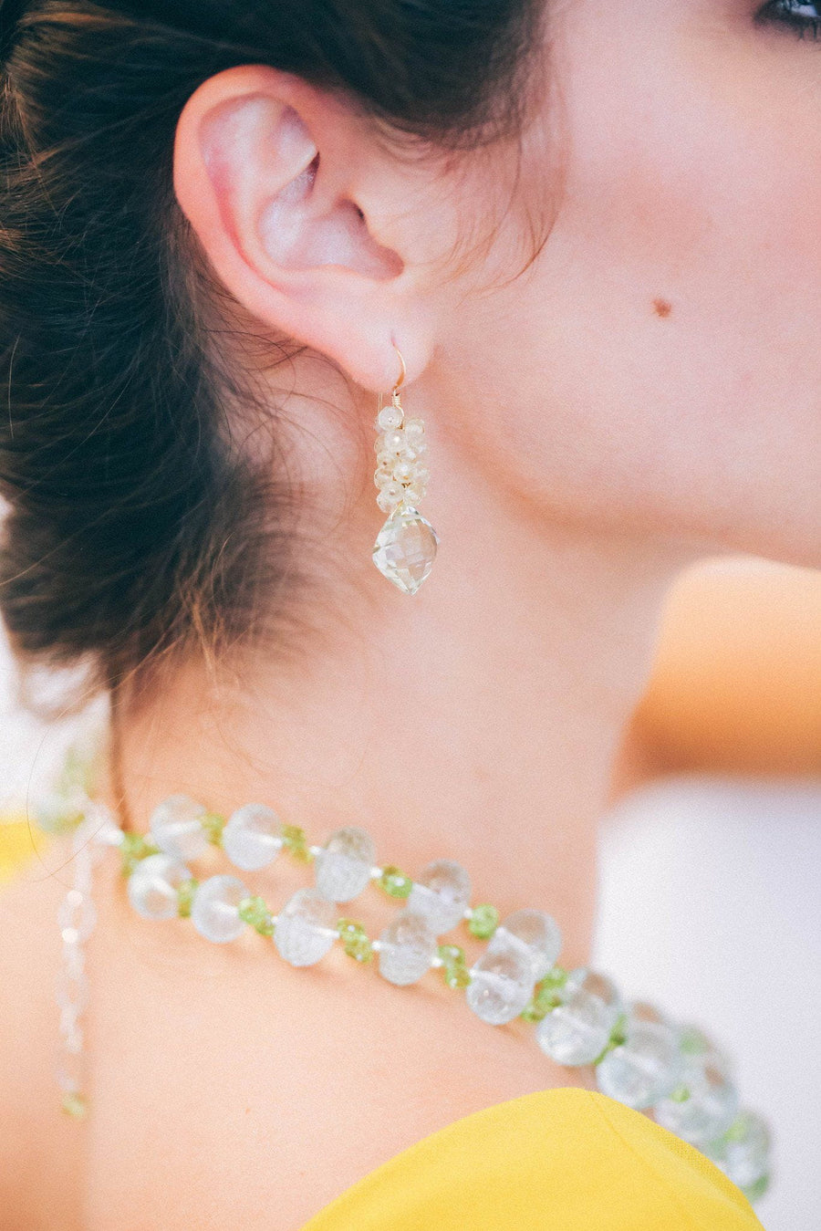 Green Amethyst and Citrine Cluster Earrings - Inaya Jewelry