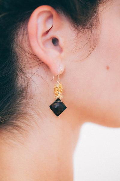 Smoky Topaz and Citrine Cluster Earrings - Inaya Jewelry