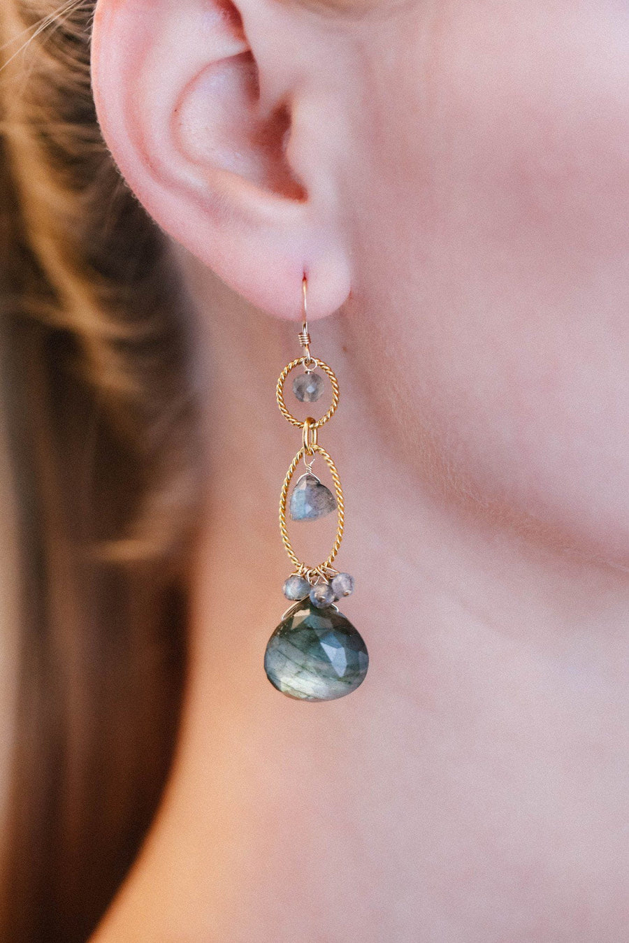 Labradorite Gold Filled Long Drop Earrings - Inaya Jewelry