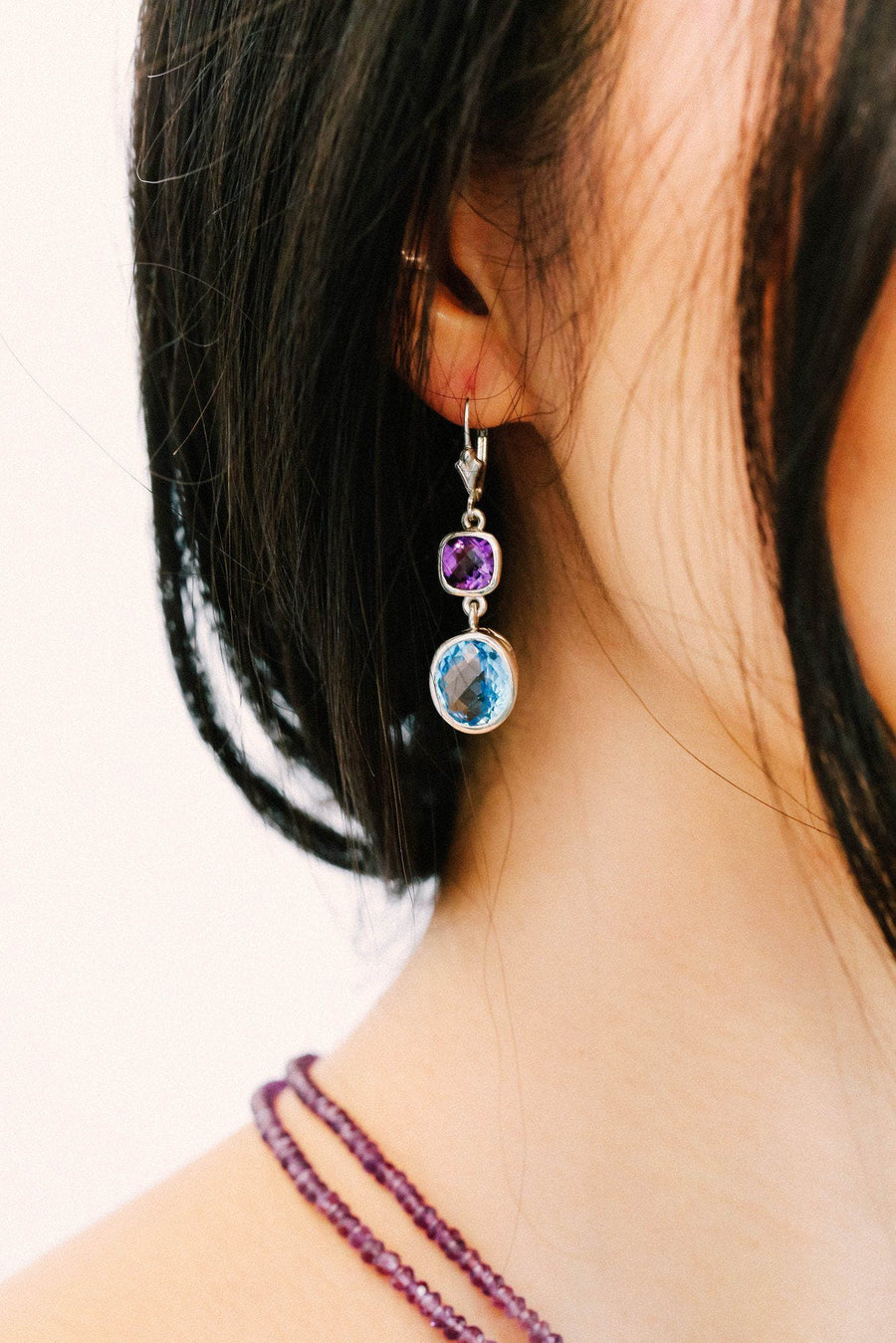 Blue Topaz and Amethyst Double Bezel Earrings - Inaya Jewelry