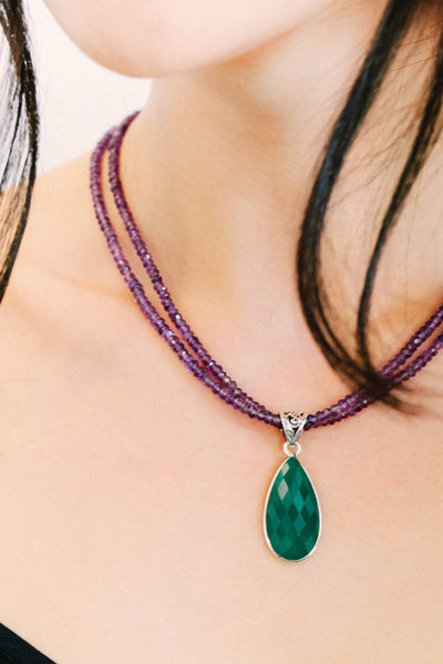 Green Onyx on Amethyst Pendant - Inaya Jewelry