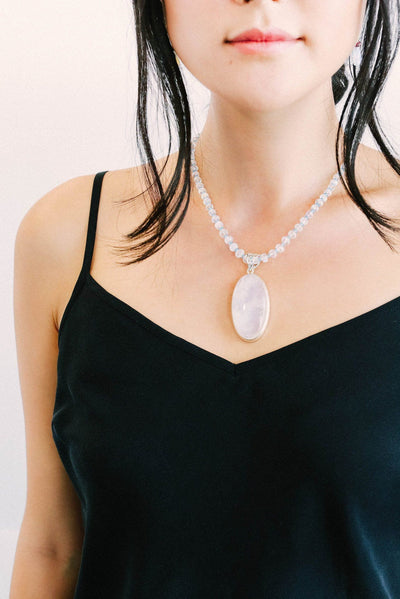Moonstone Oval on Moonstone Pendant - Inaya Jewelry