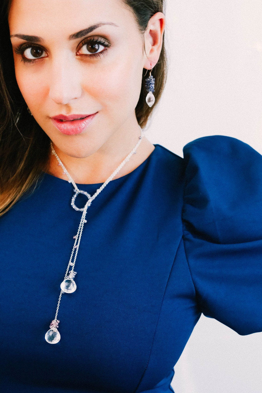Hoop Lariette Crystal Silver Necklace - Inaya Jewelry