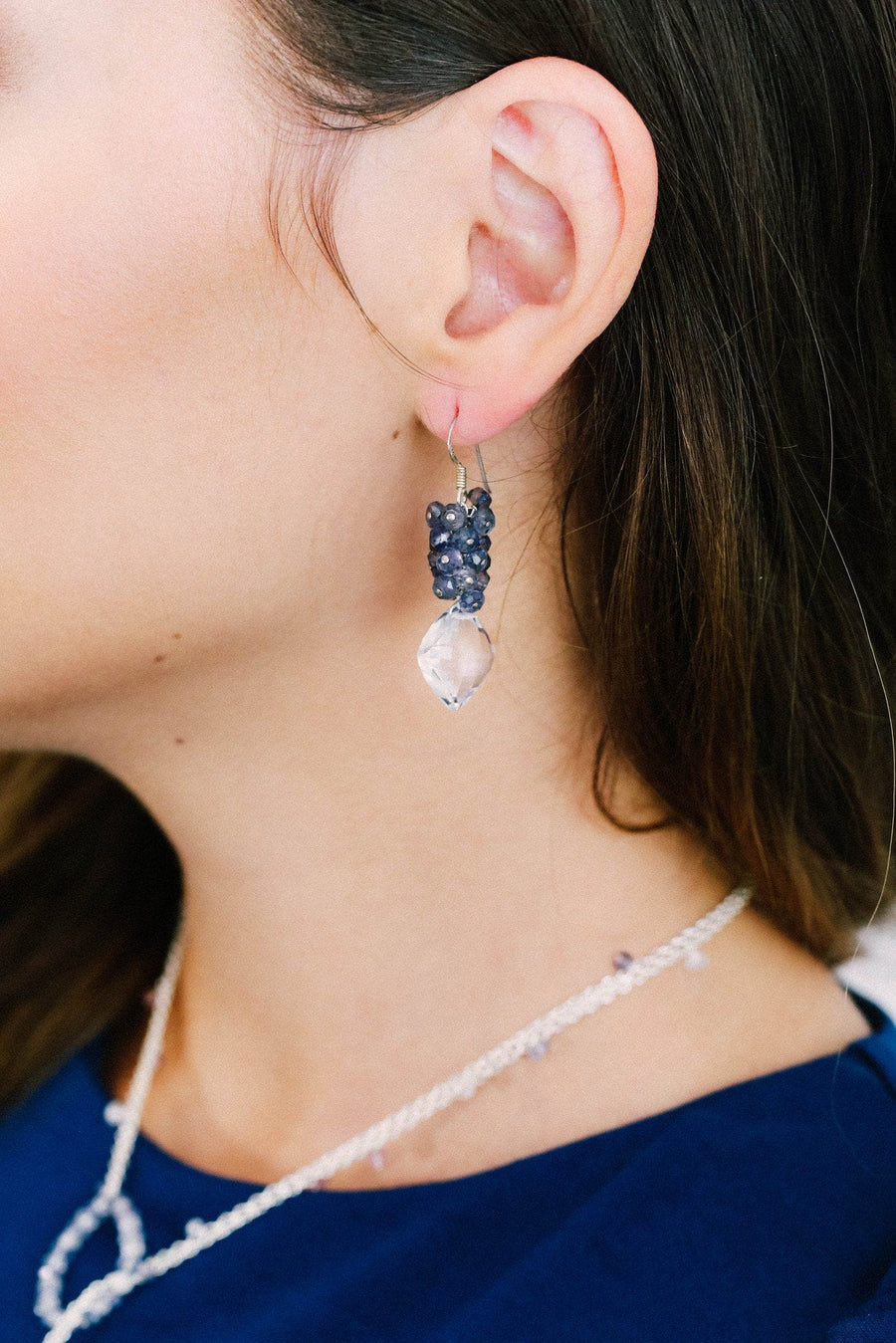 Crystal and Iolite Cluster Earrings
