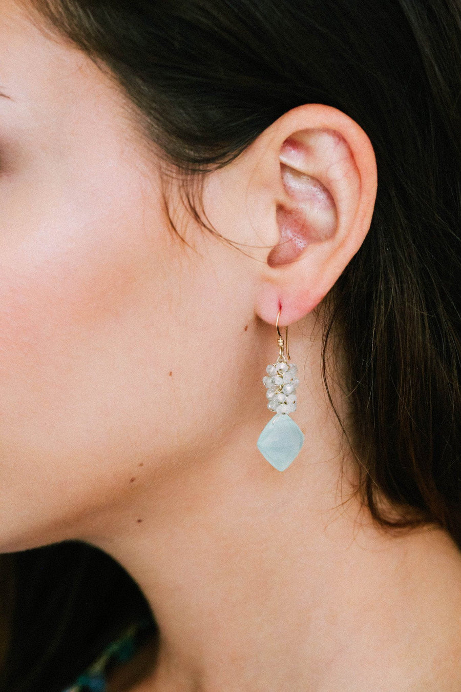 Chalcedony and Aquamarine Clusters Earrings