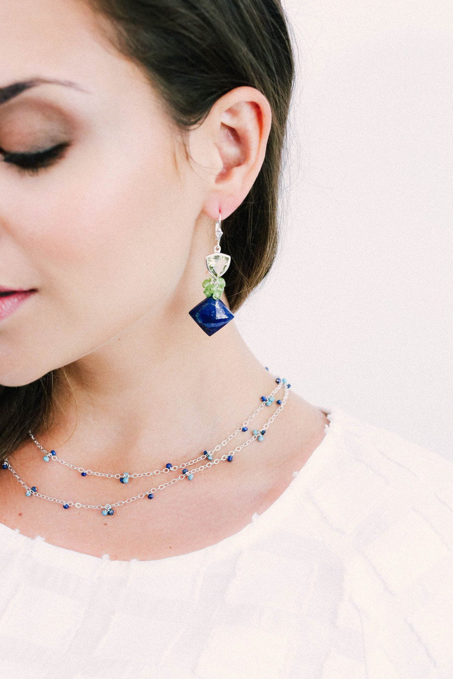 Lapis Fantasy with Lemon Earrings - Inaya Jewelry