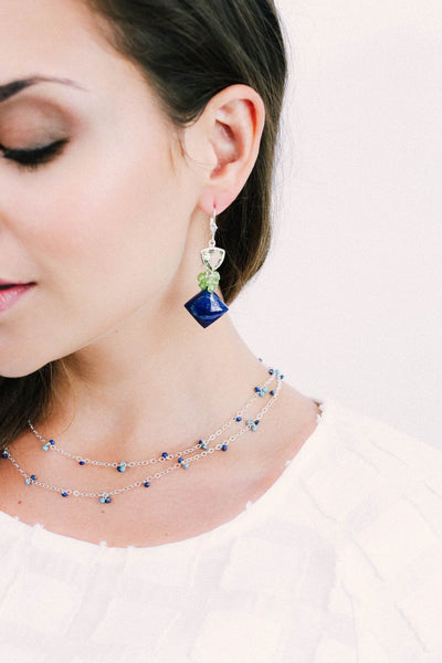 Long Delicate Lapis and Turquoise Necklace - Inaya Jewelry