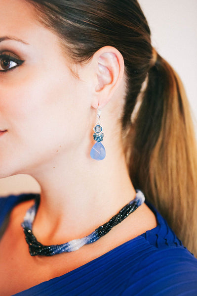 Chalcedony and Blue Topaz Fantasy Drop Earrings - Inaya Jewelry