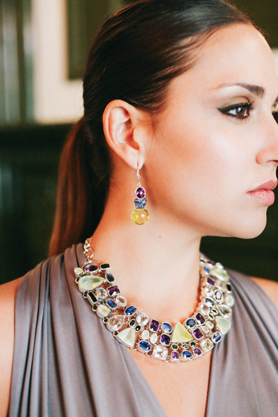 Lemon Topaz and Sapphire Fantasy Drop Earrings - Inaya Jewelry