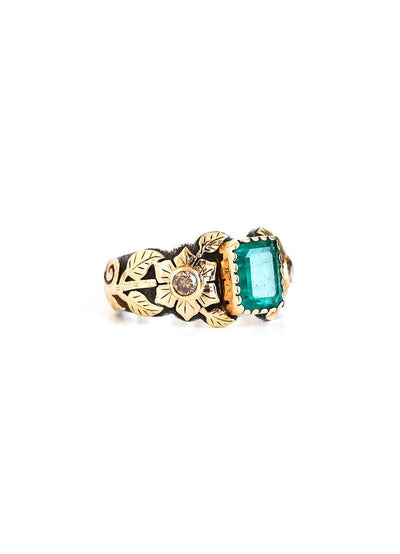 Emerald Rose Gold Ring - Inaya Jewelry