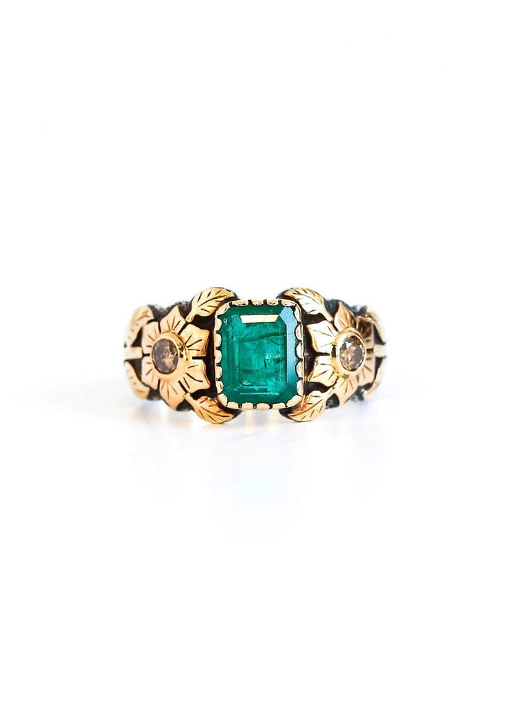 Emerald and Champagne Diamonds Flower 18K Rose Gold Silver Ring