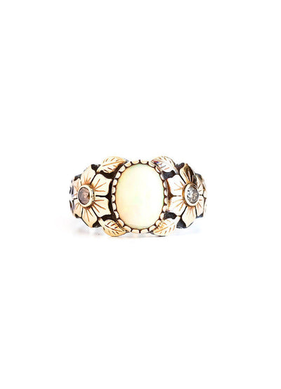 Ethiopian Opal Ring in Two Tones - Inaya Jewelry